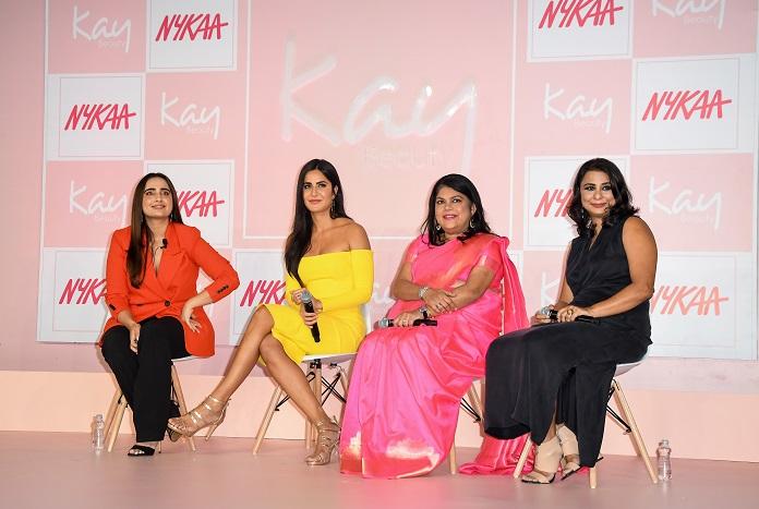 Falguni Nayar-Founder & CEO Nykaa, Reena Chhabra- CEO Nykaa Brands and Katrina Kaif