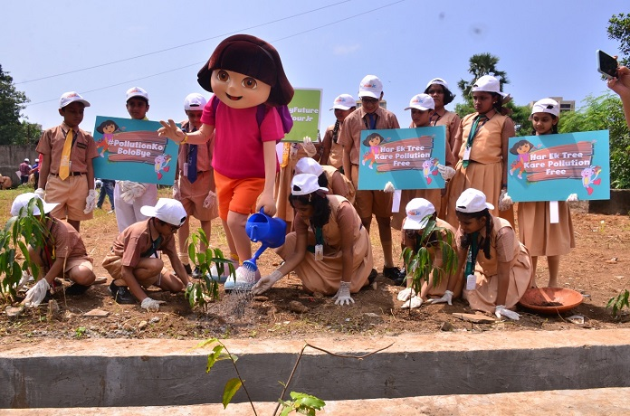 Ashoka saplings were planted by Nicktoon Dora