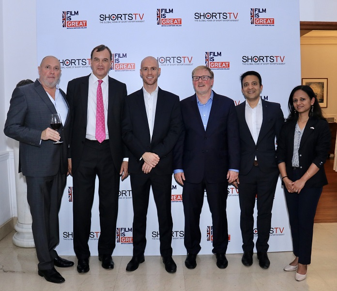 ShortsTV team along with the British High Commissioner (2nd from Left) celebrate ShortsTV's one year anniversary in India