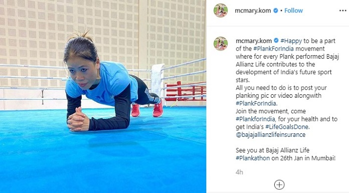 Mary has put a post on social media performing a plank