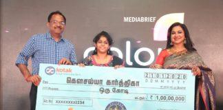 image- Anup Chandrasekharan, Business Head - COLORS Tamil and Kodeeswari Host Radikaa Sarathkumar with Kodeeswari's first winner, Kousalya Kharthika