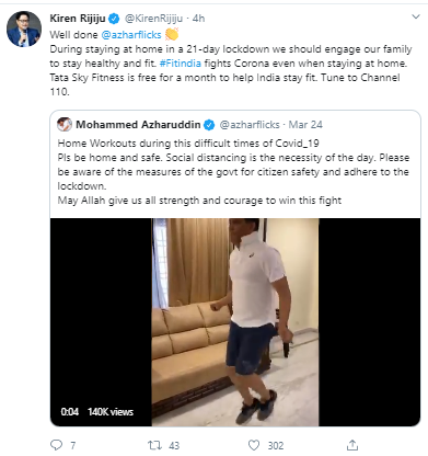 Minister of State for Youth Affairs & Sports Kiren Rijiju Tweets about Tata Sky's initiative of providing free access to Tata Sky Fitness
