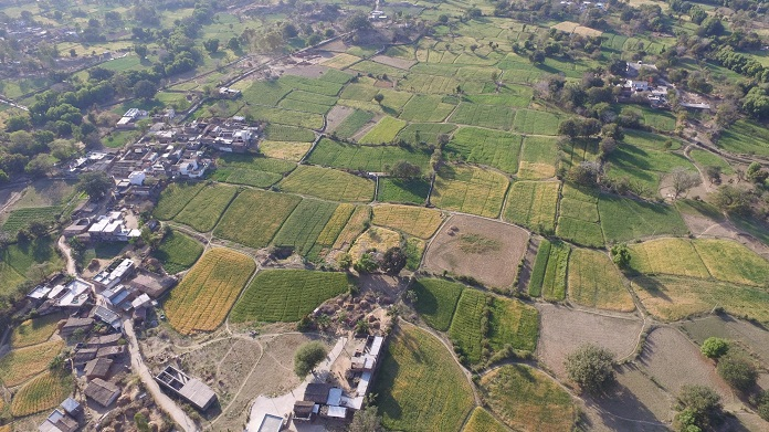 a view of the agricultural fields in Kumbharwadi village, post watershed development