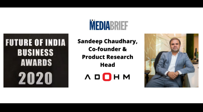 image-ADOHM Co-Founder and Product Research Head felicitated with 'FUTURE OF INDIA BUSINESS AWARD, 2020' Mediabrief