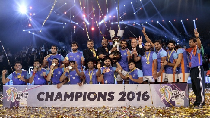 2016 Kabaddi World Cup - Winning Team India with the Trohy