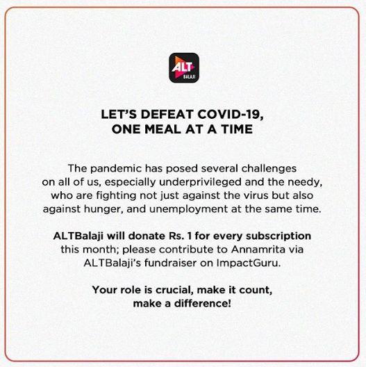 ALTBalaji_Covid 19 fundraising campaign