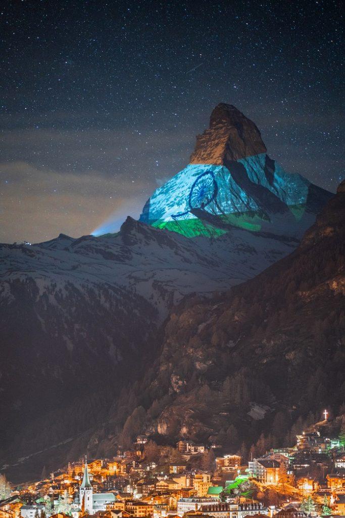 Indian flag projected onto Matterhorn