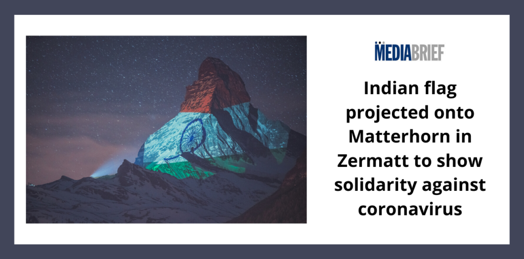 image-Indian flag projected onto Matterhorn in Zermatt to show solidarity against coronavirus Mediabrief