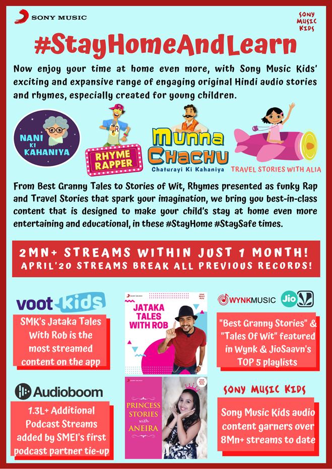 Sony Music Kids content crosses 2 million audio streams in April 2020