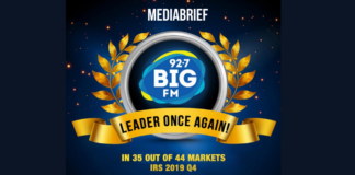 BIG FM retains leadership in 35 of 44 markets per IRS 2019 Q4